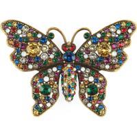 Gucci Broche Butterfly Com Aplicações De Cristais - Dourado