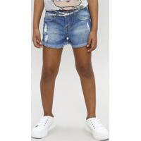 Short Jeans Infantil Com Strass E Cinto Metalizado Azul Médio