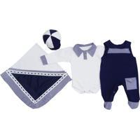 Kit I9 Baby Saída Maternidade 4 Peças Baby Marinho