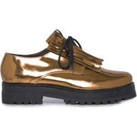 Sapato Oxford Metalizado Farm - Dourado