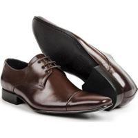 Sapato Social Couro Verniz Bico Cap Toe Confort Masculino - Masculino