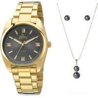 Kit Relógio Feminino Strass Allora Al2035Faok4C
