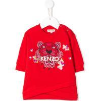 Kenzo Kids Moletom Com Bordado De Tigre - Vermelho