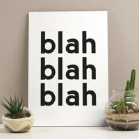 Placa Decorativa - Blah Blah Blah