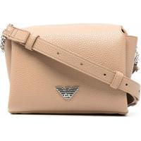 Emporio Armani Logo Plaque Pebbled-Leather Crossbody Bag - Marrom