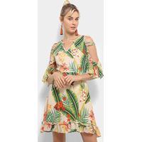 Vestido Heli Evasê Curto Tropical Open Shoulder Babados - Feminino-Bege