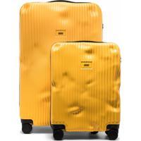 Crash Baggage Conjunto 2 Malas De Rodinhas Com Listras - Amarelo
