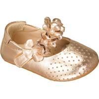 Sapato Boneca Com Flores & Microfuros - Dourado- Lululuzinha