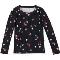 Blusa Floral - Preta & Rosa Claro - Heringhering