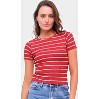 Blusas Lecimar Canelada Listrada Amarração Feminina - Feminino-Vermelho