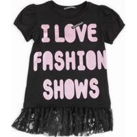 Blusa Teen Bicho Comeu Fashion Show Preto