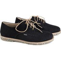 Sapato Oxford Feminino Vegano Estampado Liso Conforto Preto