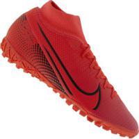 Chuteira Society Nike Mercurial Superfly 7 Academy Tf - Adulto - Coral/Preto