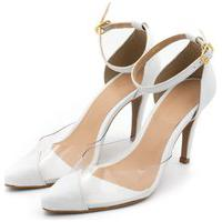 Sapato Feminino Scarpin Salto Alto Fino Em Napa Branca Com Transparência