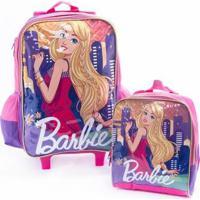 Kit Mochila De Rodinha Infantil + Lancheira Original Barbie Feminina - Feminino-Pink+Roxo