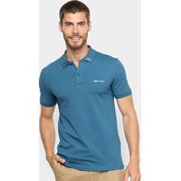 Camisa Polo Lacoste Piquet Croco Masculina - Masculino-Azul Petróleo