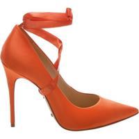 Scarpin Lace Up Satin Bright Orange | Schutz