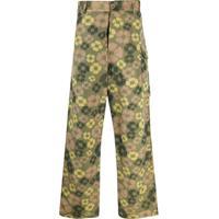 Marni Calça Pantalona Com Estampa Floral - Verde