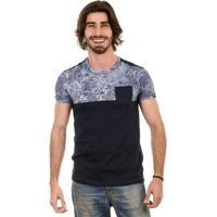 Camiseta Gnose Com Recorte Estampa Floral Azul