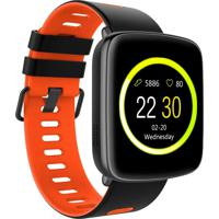 Smartwatch Monitor Cardíaco Q-Touch Bluetooth Qsw12 Preto/Laranja