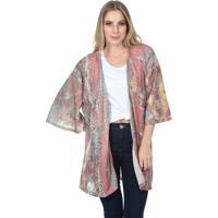 Kimono Abstrato- Rosa & Azul- Javalijavali