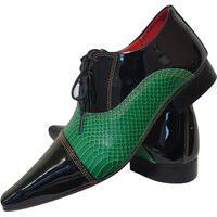 Sapato Masculino Italiano Oxford Em Couro Art Sapatos Verde Esmeralda