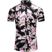 Camisa Floral Masculina - Floral Rosa Xgg