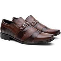 Sapato Social Hshoes Couro Elegante Dia A Dia Conforto Masculino - Masculino-Marrom