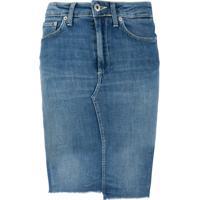 Dondup Saia Jeans Com Barra Desfiada - Azul