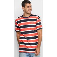Camiseta Diamond Mini Og Script Striped Tee Masculina - Masculino-Vermelho