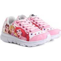 Tênis Infantil Disney Princesas Feminino - Feminino-Rosa+Branco
