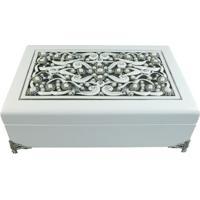 Porta Joias Cristal- Branco- 9X26X17Cm- Btc Decobtc Decor