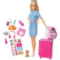 Boneca Barbie Barbie Viajante Com Pet E Adesivos - Tricae