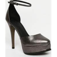 Sapato Meia Pata Em Couro - Cinza - Salto: 12Cm Lança Perfume
