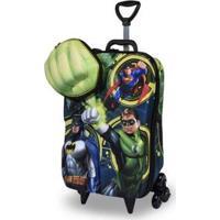 Mochila 3D Com Rodinhas E Lancheira Liga Da Justiça Lanterna Masculina - Masculino-Verde