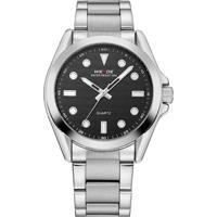 Relógio Weide Analógico Wh802 Prata E Preto