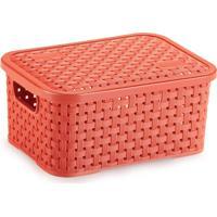 Caixa Organizadora De Plástico Rattan Pp Com Tampa Cor Coral