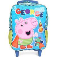 Mochila Escolar Infantil Xeryus Rodinhas Estampa Peppa Pig - Masculino