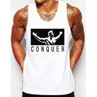 Camiseta Regata Criativa Urbana Conquista Academia Fitness - Masculino-Branco