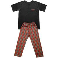 Pijama Adulto Look Jeans Pai E Filho Masculina - Masculino-Laranja