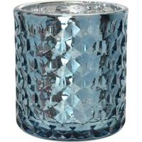 Porta Vela Diamond Em Vidro L'Hermitage Metálico Azul