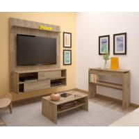Sala De Estar Completa Com Painel Para Tv Até 47 Polegadas, Mesa De Centro E Aparador Rústico