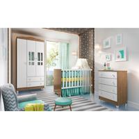 Dormitório Ariel Guarda Roupa 3 Portas/Cômoda Ariel/Berço Gabi Amadeirado Carolina Baby