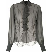 Andrea Bogosian Camisa Rosario Couture De Seda - Cinza