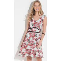 40f764a649 Vestido Quintess Curto Floral Vermelho