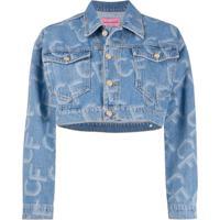 Chiara Ferragni Jaqueta Jeans Cropped Com Estampa De Logo - Azul