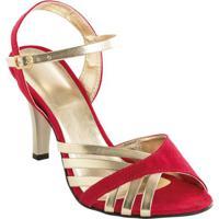 Sandália Salto Fino Vermelha E Dourada