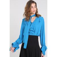 b4671a54b6 Privalia  Camisa Feminina Mindset Ampla Com Babados Manga Longa Azul