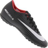 Chuteira Society Nike Mercurial Victory Vi Tf - Adulto - Preto Branco ef2d4d5adbc48