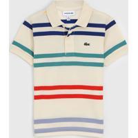 Camisa Polo Lacoste Kids Infantil Listrada Bege - Bege - Menino - Algodã£O - Dafiti